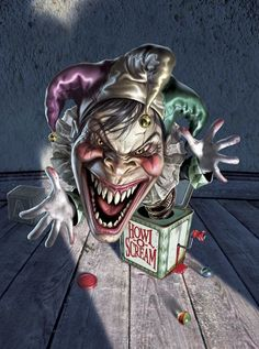 fredrickson horror halloween jack in the box freaky clown art