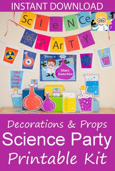 Make your Science party go with a bang with this Science Party Decorations & Props Printable Kit. #ad #science #scienceparty #birthdayparty #decorations #props #printable #etsy