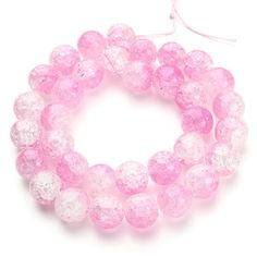 1Strand/pack 6 8 10 12mm Pink Natural Cracked Quartz Crystals Beads Round Loose Spacer Beads DIY Materials Gifts for Women F2812 #Affiliate