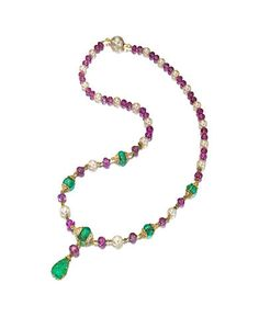 A gem-set and diamond necklace, Van Cleef & Arpels, designed as a graduated strand of pink sapphire beads and cultured pearls, enhanced by carved emerald beads, with pavé-set diamond accents, suspending a carved emerald leaf