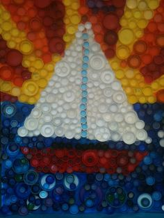 Bottle Cap Mural! Button collage idea