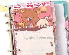 Cute Kawaii Rilakkuma Bear Filofax Refills. Personal Pocket Planner Size. Chocolate & Coffee Themes. Stationary Diary, Organizer Scheduler.