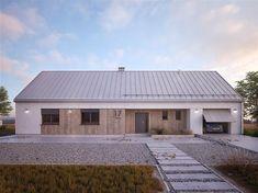 Projekt domu Jemioła 2 122,22 m2 - koszt budowy 203 tys. zł - EXTRADOM Modern Bungalow Exterior, Exterior House Colors, Steel Frame House, Contemporary Barn, Farmhouse Architecture, Barn Renovation, Small Cottages, Weekend House, Small House Design