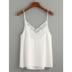 White Lace Trim Chiffon Cami Top ($9.99) ❤ liked on Polyvore featuring tops, white, white camisole, white tank tops, white cami, white tops and chiffon tank