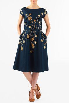 I <3 this Floral vine embellished cotton poplin dress from eShakti