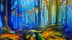 quick landscape 01 by *cyberkolbasa on deviantART    I love how colorful this is. Well, that and how, with a few simple strokes, managed to draw an entire forest.