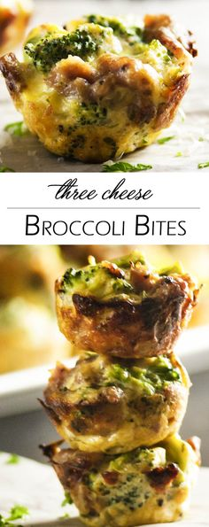 Three Cheese Broccoli Bites - Italian sausage and ricotta combine with broccoli and even more cheese to pack a pile of flavor into each little bite. Excellent as a side dish or an appetizer!   justalittlebitofbacon.com