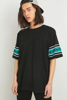 Stussy Sleeve Stripe Black Crewneck Tee - Urban Outfitters