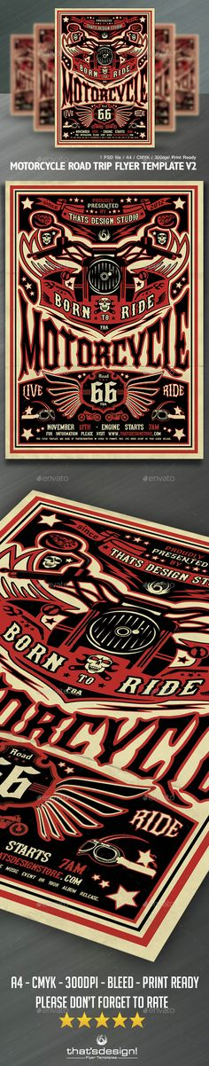 Motorcycle Road Trip Flyer Template V2