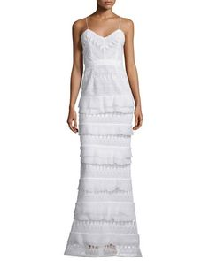 Penelope+Sleeveless+Tiered+Lace+Gown,+White+by+Self-Portrait+at+Neiman+Marcus.