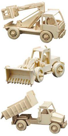 Easy-Line 3D bouwvoertuigen, 3 per set
