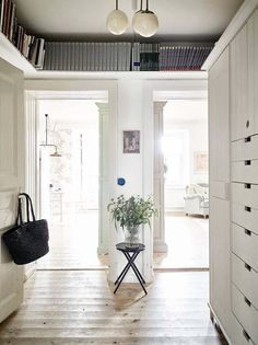 49 Ideas Apartment Therapy Small Spaces Interior Design Extra Storage For 2019 Interior, Small Space Interior Design, Hallway Storage, Home Decor, Small Apartment Therapy, House Interior, Ceiling Shelves, Apartment Therapy Small Spaces, Interior Design