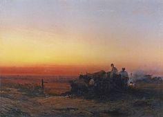 Степь с чумаками вечером, Саврасов, 1854