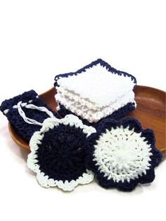 Cotton Washcloths and Face Scrubbies in Blue and by @CraftyRidge,