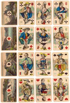 Swiss Regional Costumes Playing Cards, c.1890