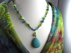 Statement necklace turquoise lime green peridot beaded wire wrapped neon green copper  gemstone necklace. $29.95, via Etsy.