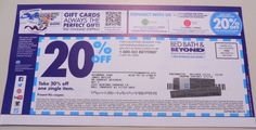 Bed Bath Beyond Coupon Save 20% Off One Single Item Promo Code Deal Savings WOW!