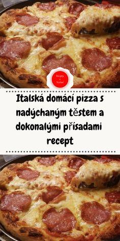 Italská domácí pizza s nadýchaným těstem a dokonalými přísadami recept Pitta, Pepperoni, Mozzarella, Menu, Food, Menu Board Design, Essen, Meals, Pies