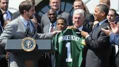 ~Green Bay Packers quarterback Aaron Rodgers giving the President a Packer jersey! First game of the season in five hours!