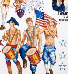 Pin Up Boys Hunks Patriotic Independence Day Red White and Blue Uncle Sam Hunks White Version Cotton Fabric Quilting Fabric Male Pinup, Pin Up, Alexander Henry Fabrics, Let Freedom Ring, Diy Projects To Try, Sewing Projects, Fabric Patterns, Fourth Of July, Red And White