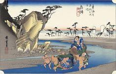 復刻浮世絵歌川広重「奥津(興津) 興津川」(東海道五十三次):浮世絵のアダチ版画