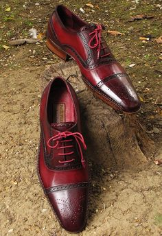 Paul Parkman Men's Side Handsewn Captoe Oxfords - Red / Bordeaux Leather Upper and Leather Sole. $565.00