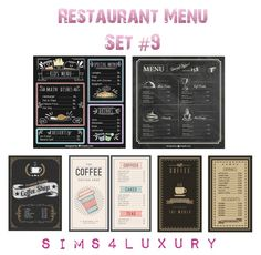 Sims 4 Luxury – Restaurant Menu Set 9 for The Sims 4