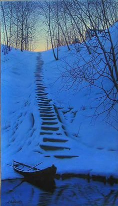 paintings of snow on stairs - Google Search