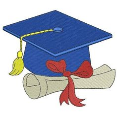 Graduation Cap with diploma Machine Embroidery Digitized Filled Design Pattern -Instant Download- 4x4,5x7,6x10