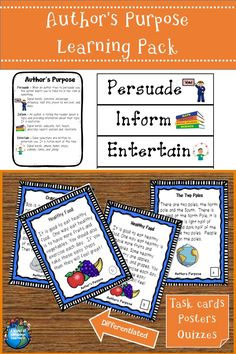 Practice identifying author's purpose using task cards and short quizzes. #authorspurpose #persuade #inform #entertain #esl #esol #taskcards