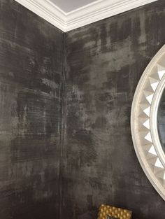 Modern Masters Metallic Plaster in color Tungsten, Pewter foil and Modern Masters Black Pearl glaze on Powder Bath Walls | Guest Bath Design Inspo | Beautiful project by decorative artist Tracy Wade Design
