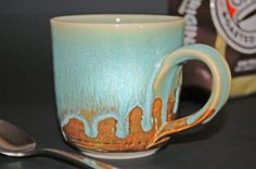 Pottery Mug/Cup with Green & Caramel Glazes for by nhfinestoneware, $19.95