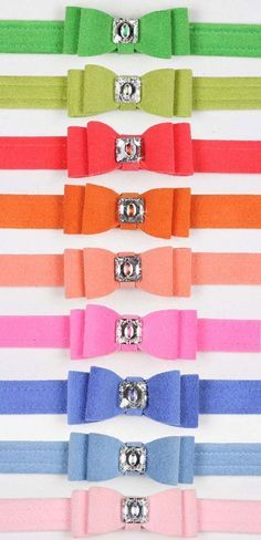Big Bow Swarovski Crystal Ultrasuede Dog Collar - 20 Colors   Sadie -- you should pick a color!!!