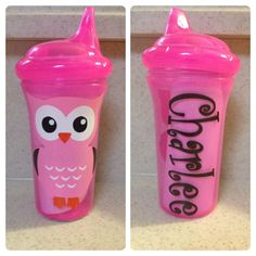 Personalized Sippy Cup with Owl Design 9oz by EBpolkadotsandmore, $10.00