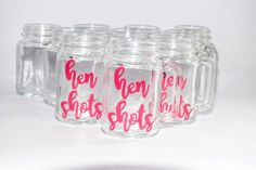 Hen Shot Glass/Party Shots/Hen Party/Hen Shot Glass/Mason Jar Shots/Hen Favour/Hen Gift/Hen Weekend/Hen Party/ Bachelorette Party/Shot Glass Weekender, Drinkware, Shot Glass, Wine Glass, Canning, Drinks, Tableware, Unique Jewelry, Handmade Gifts