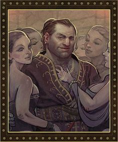 valerie1972:  Rooting around in the game assets, I came across the cover art for Swords and Shields. This is the author photo illustration on the back cover.Varric Fucking Tethras, everyone.