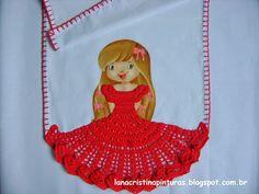 Pintura em Tecido e Artesanato: Boneca Pintada com Vestido de Crochê Vermelho...Pintura em Panos de Copa/Prato