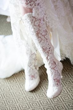 These beautiful Evangeline Elliot boots complement this bride's dress beautifully!