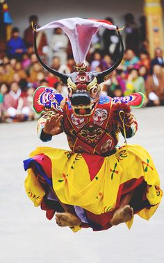 masked dancer, punakha festival (demoche), bhutan | traditional dance