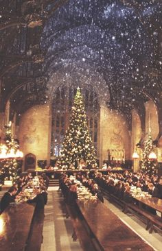 Christmas at Hogwarts. Hogwarts. Harry Potter. Wizard. Wizardry. Sorcery. Magic. Magical. Holidays. Banquet Time. Christmas Tree.