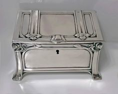 View this item and discover similar for sale at - Austrian silver casket box, Vienna, circa The box of strong jugendstil nouveau secessionist design on four turned bracket stylized bracket supports, Silver Enamel, Antique Silver, Casket, Decorative Objects, Art Decor, Art Nouveau, Arts And Crafts, Boxes, De Stijl