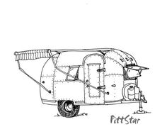 Digital Line Art Instant Download  Vintage Airstream by PittStar, $5.00