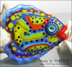 """MICHOU P. Anderson Lampwork Beads  """"Sexy Lips Fish"""" focal bead - SRA A 20"""