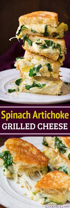 Spinach Artichoke Grilled Cheese - The BEST grilled cheese!!