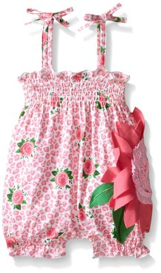 Mud Pie Baby Girl One Piece Bubble, Multi, Months. Soft rose-print iscose-blend romper features bows at shoulder and dimensional flower applique with interlock petals, ruffled center and smocked neckline. Mud Pie Baby, Baby Girl One Pieces, Cute Outfits For Kids, Boho Baby, Toddler Girl, Baby Girls, Baby Boy, Girls Dresses, Rompers