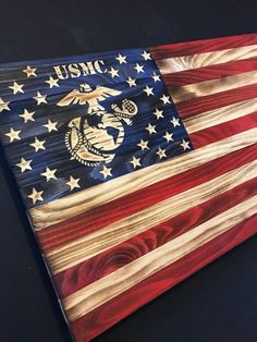 Wooden American Flag w/ Marine Logo Customizable Flag Wood Burned flag Rustic Flag Sign Flag Gift Distressed Flag Wooden American Flag, American Flag Wood, American Decor, American Pride, Marine Flag, Marine Mom, Marine Corps Emblem, Marines Logo, Military Crafts
