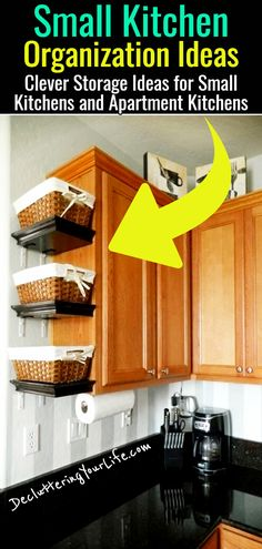 23 Shockingly Easy DIY Kitchen Organization Ideas You Need To Try Today Brilliant DIY kitchen organization ideas to transform your entire kitchen. These cheap kitchen organization hacks are so easy to do. Organization Ideas For The Home Diy, Organizing Hacks, Small Kitchen Organization, Small Kitchen Storage, Home Organization Hacks, Organized Kitchen, Diy Hacks, Diy Storage For Small Spaces, Diy Kitchen Shelves