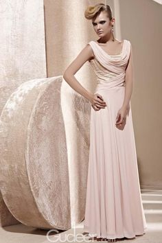 Pale Candy Pink Cowl Neck Beaded Sleeveless Long Prom Dress