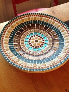 Mosaic design bowl,handcrafted bamboo mosaic bowl, mosaic art home decoration, glass mosaic bamboo bowl blue brown, retro glass mosaic - DIY /Basteln - Welcome Haar Design Mosaic Birdbath, Mosaic Tray, Mosaic Glass, Mosaic Tiles, Glass Art, Stained Glass, Mosaic Crafts, Mosaic Projects, Mosaic Designs