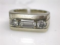 Unique Retro Diamond Ring. reminds me of a stereo.